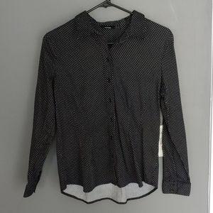 Women's black & white polka dot button-down